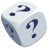 icon dice with questions marks